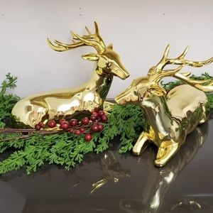 Beautiful gold shiny reindeer